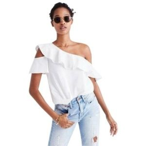 Madewell one shoulder white ruffle top size 0